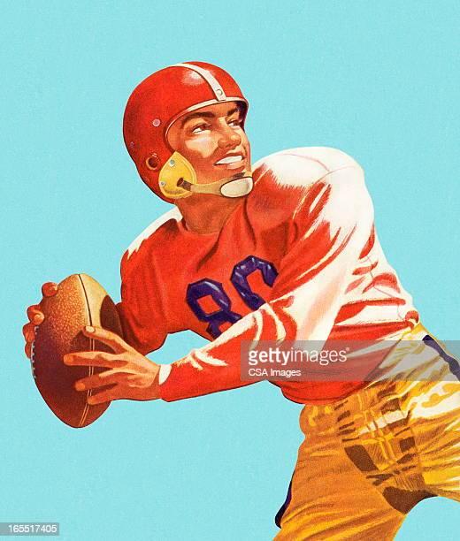 illustrations, cliparts, dessins animés et icônes de pour un lancer ballon de football joueur de football - adulte
