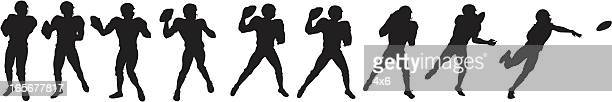 football player throwing ball - quarterback stock illustrations