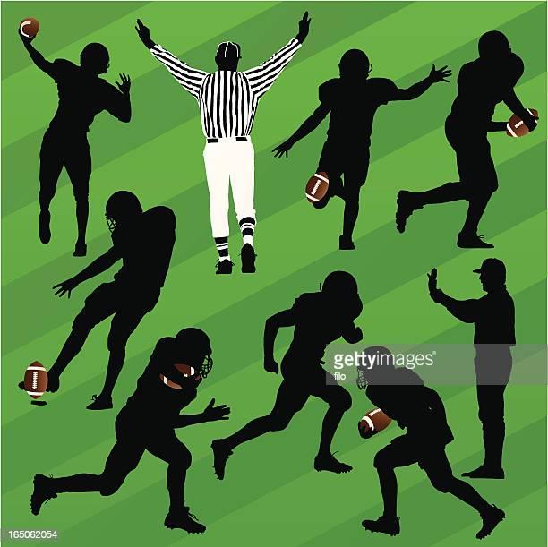 football silhouettes - american football judge stock illustrations