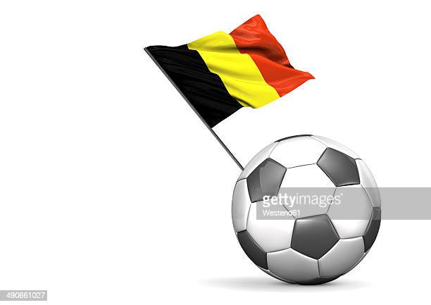 football with flag of belgium, 3d rendering - traditionally belgian stock illustrations