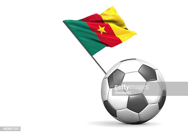 football with flag of cameroon, 3d rendering - cameroon stock illustrations, clip art, cartoons, & icons