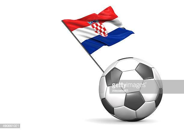 football with flag of croatia, 3d rendering - croatian flag stock illustrations, clip art, cartoons, & icons