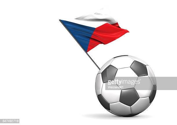 football with flag of czech republik, 3d rendering - all european flags stock illustrations