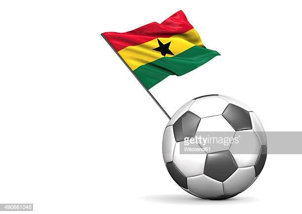 football with flag of ghana, 3d rendering - ghana flag stock illustrations, clip art, cartoons, & icons