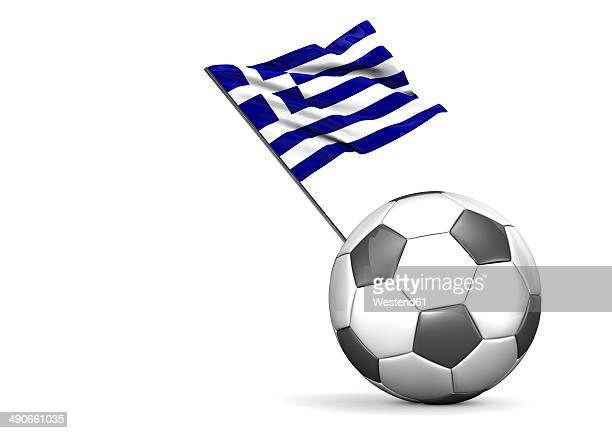 football with flag of greece, 3d rendering - greek culture stock illustrations