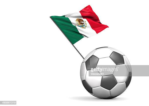 ilustraciones, imágenes clip art, dibujos animados e iconos de stock de football with flag of mexico, 3d rendering - bandera de mexico