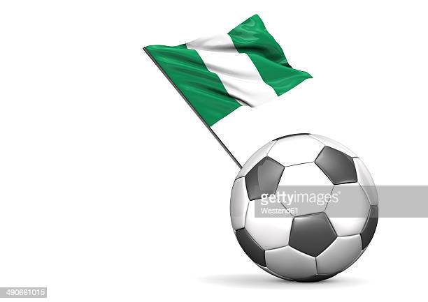 Football with flag of Nigeria, 3d rendering