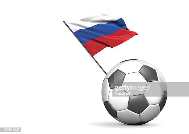 football with flag of russia, 3d rendering - russland stock-grafiken, -clipart, -cartoons und -symbole
