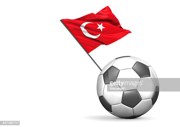 football with flag of turkey, 3d rendering - national flag stock illustrations