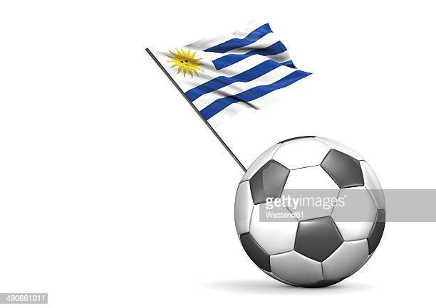 football with flag of uruguay, 3d rendering - uruguay stock illustrations