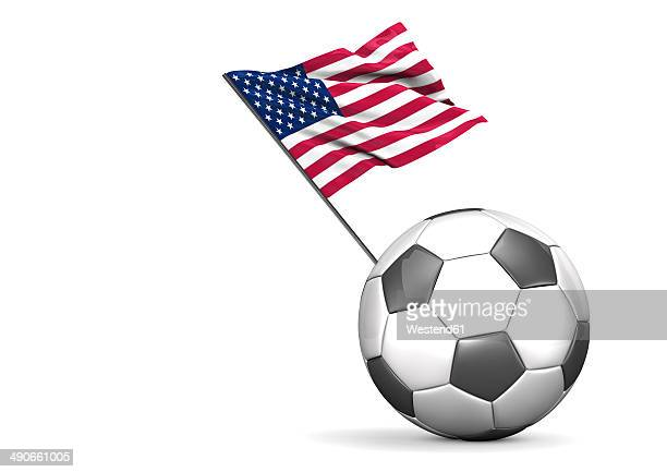 football with flag of usa, 3d rendering - national flag stock illustrations