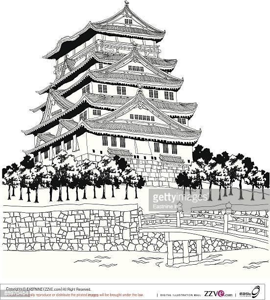 footbridge over lake by pagoda - pagoda stock illustrations, clip art, cartoons, & icons