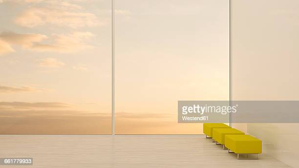 Footstools at the window at sunset, 3D rendering