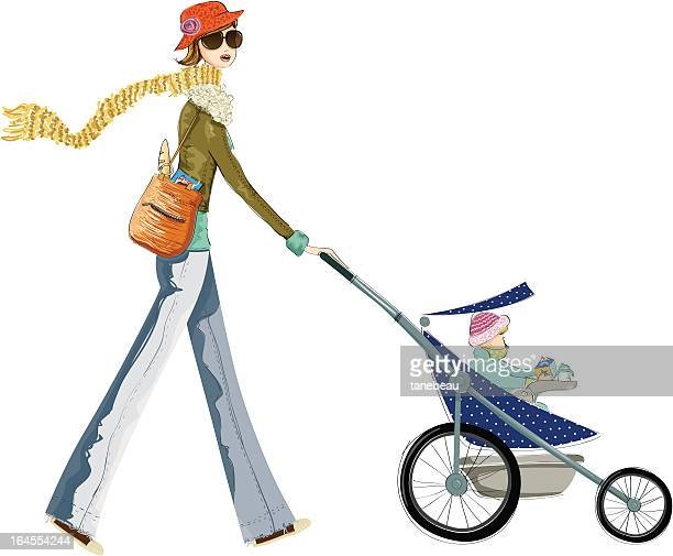 for a winter walk with the baby - three wheeled pushchair stock illustrations, clip art, cartoons, & icons
