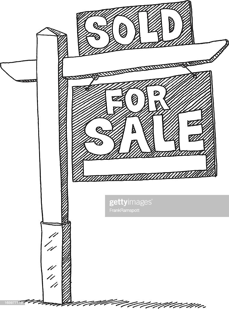 For Sale Sold Sign: For Sale Sign Real Estate Sold Drawing Stock Illustration