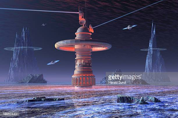 Foreign planet satellite data link relay station