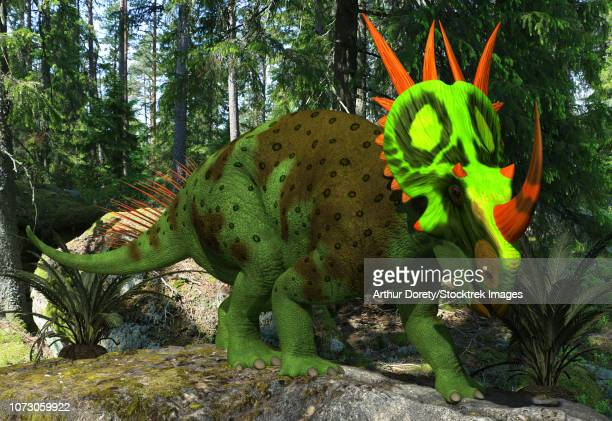 A forest green Rubeosaurus in a prehistoric environment.