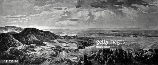 ilustrações, clipart, desenhos animados e ícones de floresta no terreno vantajoso do campo aberto - 1887