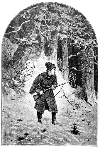 A forest official observes the poacher from hiding in the forest - 1888 - gettyimageskorea