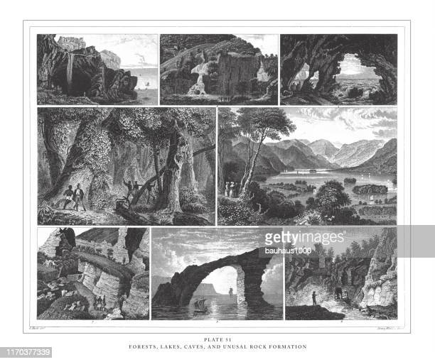 forests, lakes, caves and unusual rock formation engraving antique illustration, published 1851 - basalt stock illustrations, clip art, cartoons, & icons