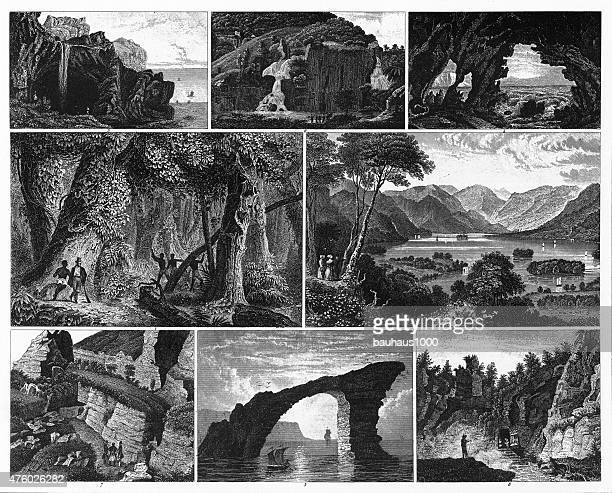 Forests, Lakes, Caves and Unusual Rock Formations Engraving
