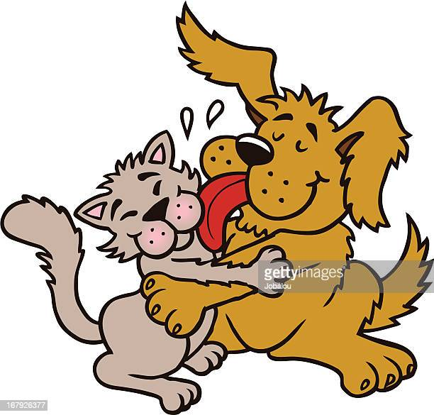 forever friends - animal saliva stock illustrations, clip art, cartoons, & icons