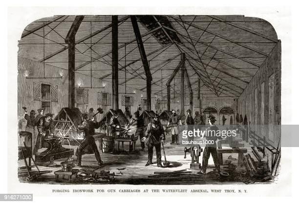 ilustrações, clipart, desenhos animados e ícones de forjando a indústria siderúrgica, para carruagens de arma para a arsenal de watervliet, oeste de troy, nova york, gravura de guerra civil de 1861 - século xix