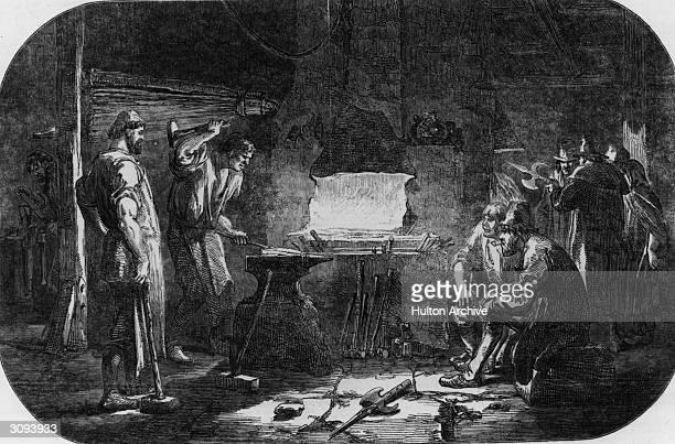 Forging pikes during the Irish rebellion Original Publication Illustrated London News pub 1848