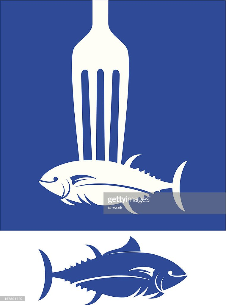 fork grabbing tuna silhouette vector art getty images