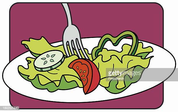 A fork in a plate of salad