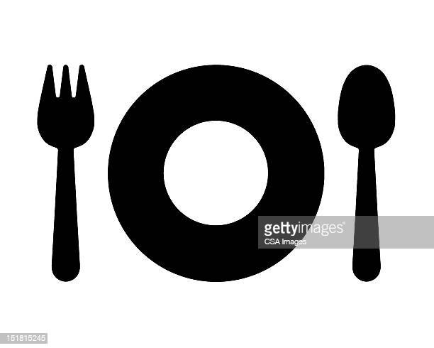 fork spoon and plate - food stock illustrations