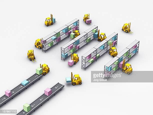 forklift trucks in a schematic warehouse - フォークリフト点のイラスト素材/クリップアート素材/マンガ素材/アイコン素材