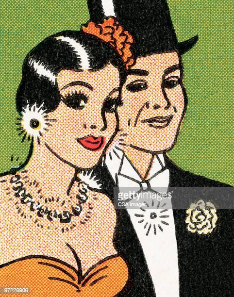 formally dressed couple - タキシード点のイラスト素材/クリップアート素材/マンガ素材/アイコン素材