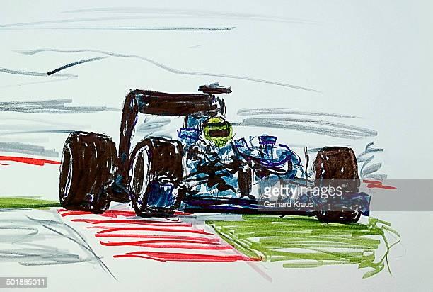 ilustraciones, imágenes clip art, dibujos animados e iconos de stock de formula 1 racing car, illustration - piloto de coches de carrera