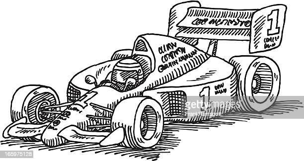 formula one racecar drawing - formula one racing stock illustrations, clip art, cartoons, & icons