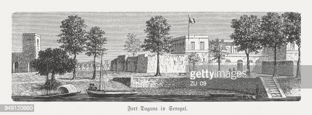 Fort Dagana in Senegal, wood engraving, published in 1868