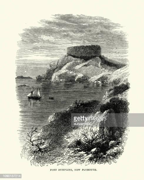 fort dumpling, new plymouth, massachusetts - massachusetts stock illustrations
