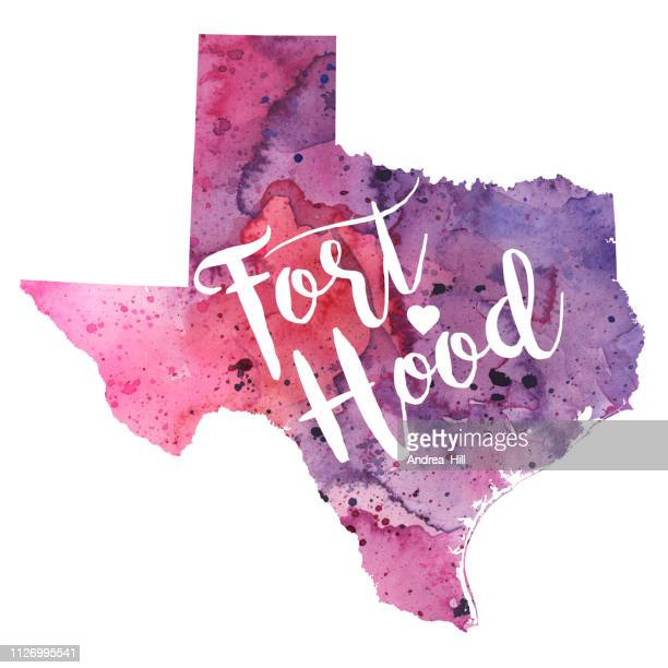 Fort Hood, Texas Watercolor Raster Map Illustration