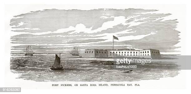 Fort Pickens, on Santa rosa Island, Pensacola Bay, Florida, Civil War Engraving