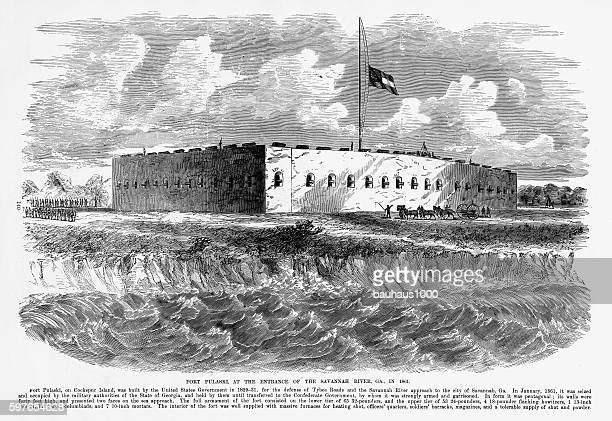 fort pulaski, savannah river, georgia, 1861 civil war engraving - savannah georgia stock illustrations, clip art, cartoons, & icons