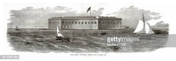 fort sumter, charleston harbor, charleston, south carolina, civil war engraving - us navy stock illustrations, clip art, cartoons, & icons