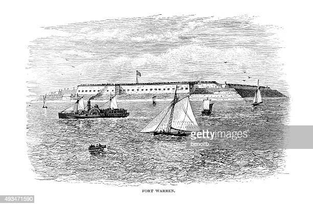 fort warren - boston harbor stock illustrations, clip art, cartoons, & icons