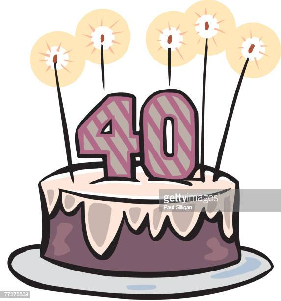 A Fortieth Birthday Cake With Candles