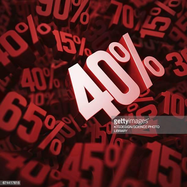 forty per cent discount, illustration - 数字の40点のイラスト素材/クリップアート素材/マンガ素材/アイコン素材