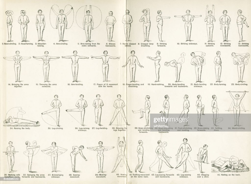 Forty-five Victorian exercises to be done at home : stock illustration