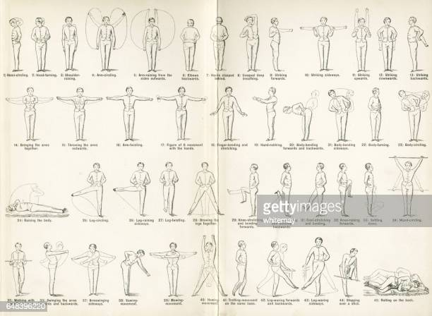 forty-five victorian exercises to be done at home - gymnastics stock illustrations, clip art, cartoons, & icons