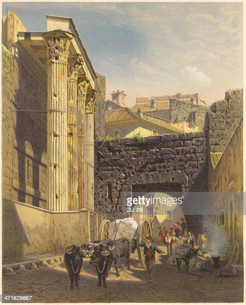 Forum of Augustus, Rome, by Hugo Harrer, lithograph, published 1871