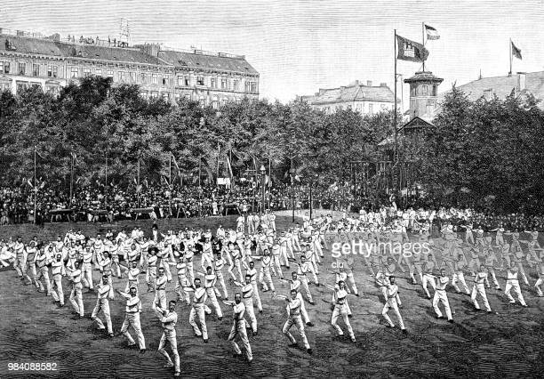 foundation festival of the hamburg gymnastics club 1891 - gymnastics stock illustrations