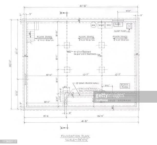foundation plan - inch stock illustrations