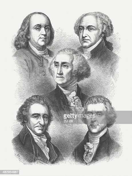 us founding fathers: franklin, adams, washington, paine, jefferson, published 1876 - benjamin franklin stock illustrations, clip art, cartoons, & icons